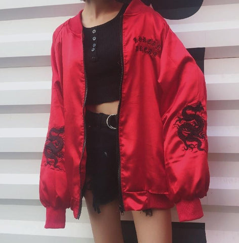 Trendy Gothic letter embroidery  silk coat embroidery dragon satin silky zipper jacket bomber jacket Baseball thin silk coat Kpop stree AT_94_13