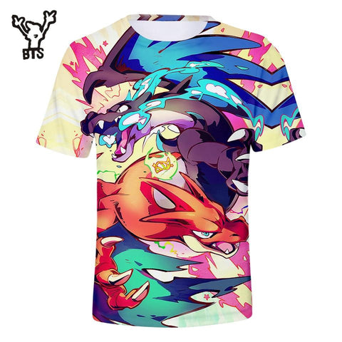 BTS  3D Fashion Cool Print Pikachu Tshirt Firedragon Women/Men Sexy Popular Funny T-shirt Summer Plus Size 4XLQ0739-Q0741Kawaii Pokemon go  AT_89_9