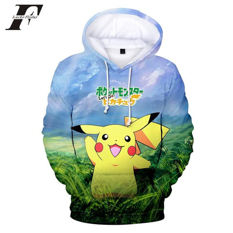 LUCKYFRIDAYF 2018 BTS  Game  Go Pikachu Eevee 3D Hoodies Men/Women Kawaii Anime Print Hoodies Men Fashion Women HarajukuKawaii Pokemon go  AT_89_9