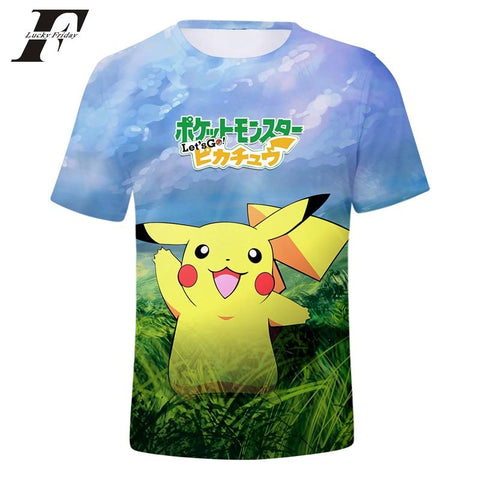 LUCKYFRIDAYF 2018 BTS New Game  Go Pikachu Eevee 3D printed Tshirt Women/Men Anime Print Summer Funny tee Tops ClothesKawaii Pokemon go  AT_89_9
