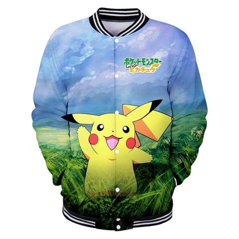 Let's Go Pikachu Ibe Anime 3D Women's Baseball Jackets Unisex Women/Men's Print Cartoon Jackets Hip Hop Kpop Clothes 4XLKawaii Pokemon go  AT_89_9