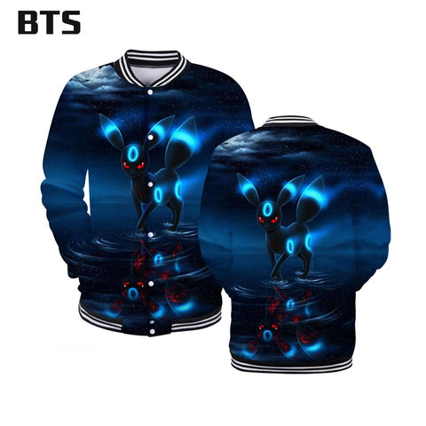 BTS 2018  Umbreon 3D Hoodies Men/Women Fashion Anime Hooides Sweatshirts Creative Design Autumn Winter Hoodies Plus 4XLKawaii Pokemon go  AT_89_9