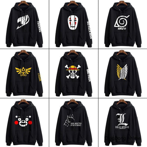 Legend of Zelda Link Anime Cartoon Pullover Men's Sweater Totoro  One Piece Naruto Fairy Tail Black Hoodie Polyester Jacket Sweatshirt Coat Tops NES Switch AT_87_9