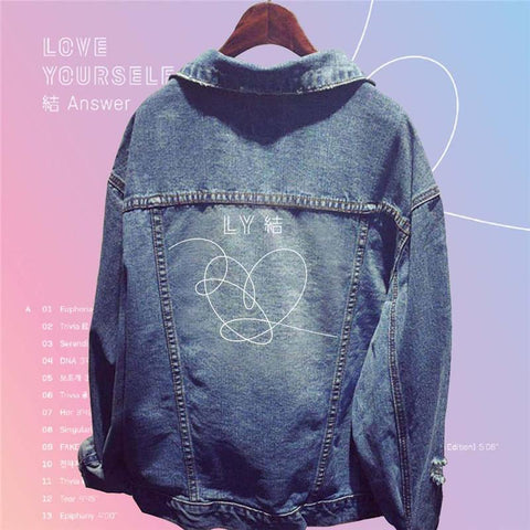 Trendy Kpop Bantan Boys BT21 BTS LOVE YOURSELF ANSWER Denim Coat EXO GOT7 TWICE WANNA ONE Printed Women Autumn Winter Denim Jacket AT_94_13