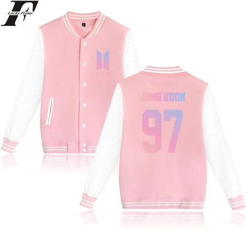 Trendy BTS Album Love Yourself Kpop Baseball Jacket Womens Hoodies Pullover Streewear Hoodie Pink Sweatshirt Women Long Baseball Jacket AT_94_13