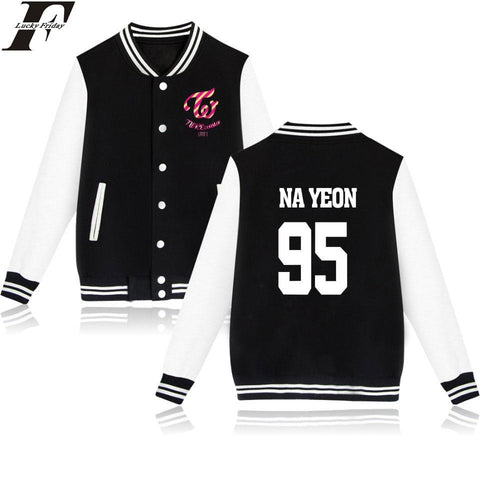 Trendy 2017 bts Kpop Twice MoMo Ji Hyo baseball Jackets bomber jacket casaco feminino men women Autumn  Women Idol Printed AT_94_13