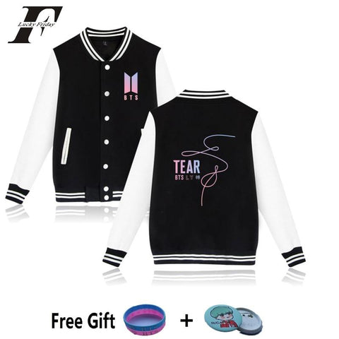 Trendy 2018 harajuku BTS kpop Baseball Jackets bts Love Yourself Tear Print Collage bomber Jackets Men/Women Casual Clothes Plus Size AT_94_13