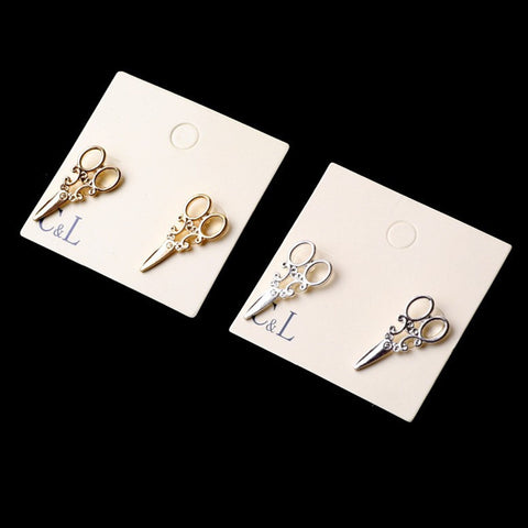 2016 New Design Fashion Simple Gold and SIlver plated small scissor Stud earrings for women Jewelry  accessories Wholesale