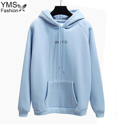 KPOP BTS Bangtan Boys Army Autumn Winter Fleece Oh Yes Letter Harajuku Print Pullover Top 2018 Casual  Loose Women Hoodies Sweatshirts Female Thick Coat AT_89_10