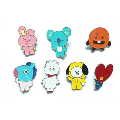 KPOP BTS Bangtan Boys Army    Boys PIN BADGE Cute Cartoon BT21 Q Styles Metal Brooch Cute Cloth Jewelry Accessories Cooky Chimmy Tata Mang AT_89_10
