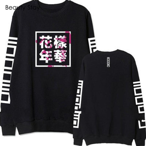 KPOP BTS Bangtan Boys Army Beauty Stay Women Black Hoodies  Huanyangnianhua Printed O-neck No Hat Full Sleeve Outwear Casual Autumn Women Hoodies AT_89_10