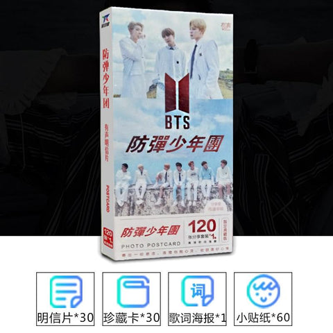 KPOP BTS Bangtan Boys Army K pop   boys korean style fashion 30pics Postcards+30pics Collection Cards+60pics Sticker And 1 Pics Lyrics Poster AT_89_10
