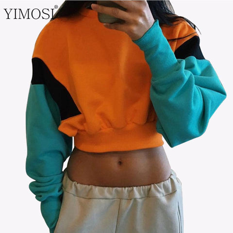 KPOP BTS Bangtan Boys Army Autumn Winter Women  Hoodies Sweatshirt 2018 Casual Long Sleeve Pullovers Female Patchwork Crop Top Korean Fashion Tracksuit AT_89_10
