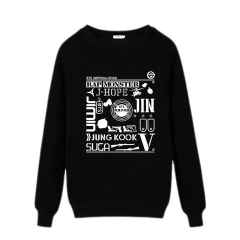KPOP BTS Bangtan Boys Army   Women Hoodies Sweatshirt O-neck Cotton Harajuku 2018 Print Pullovers Female Autumn Casual Plus Size Tops ** AT_89_10