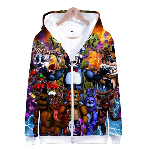 KPOP BTS Bangtan Boys Army  Hoodies Sweatshirt 3D Five Nights at Freddy Long Sleeve Zipper Women Clothes 2018 Hot Sale Hip Kawaii Plus Size Q-1910-YH07 AT_89_10