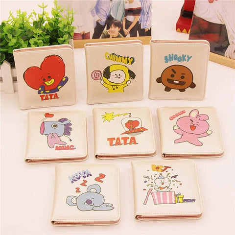 KPOP BTS Bangtan Boys Army 8 Style Kawaii Cartoon BT21 Wallets    Boys Korean Style Fashion CHIMMY TATA KOYA RJ COOKY SHOOKY MANG VAN AT_89_10
