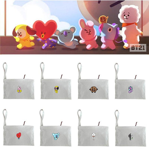 KPOP BTS Bangtan Boys Army New   boys  Bt21 Cartoon Q Styles Printed Fabric Cloth Zipper Storage Bag Phone Coin Bag With Hand Strap Wallet AT_89_10