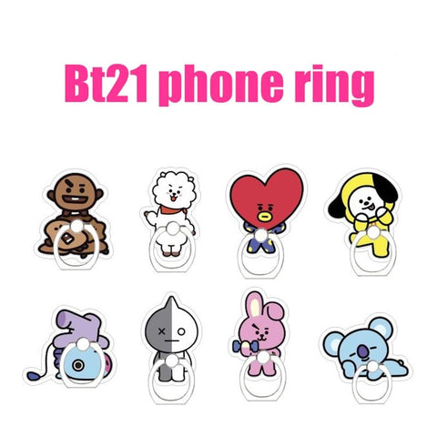 KPOP BTS Bangtan Boys Army New BT21 Korean Style Fashion K Pop   Boys Cute Cartoon Phone Ring Phone Holder Finger Ring Figure Toys Gift AT_89_10