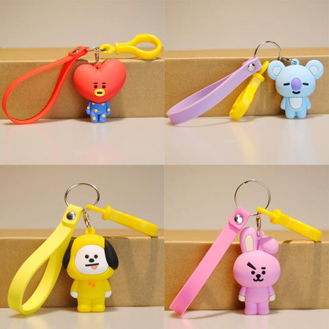 KPOP BTS Bangtan Boys Army New BT21 K POP bang boys korean style Cute Cartoon Keychain Accesories Pendant Phone Strap  Key Ring  Gifts AT_89_10
