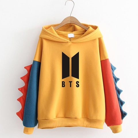 KPOP BTS Bangtan Boys Army New 2018 Women's Sweatshirts Hoodies   Autumn Winter Sweet Cute Dinosaur Velvet Cashmere Hooded Hoodies EXO Pullover Tops AT_89_10