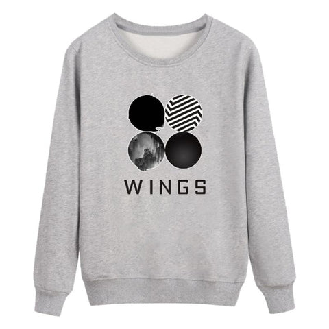 KPOP BTS Bangtan Boys Army Autumn Winter Wing  Sweatshirt Korean Style Women Clothing Hoodies Sweatshirts Casual Hip Hop Casual Long Sleeve Pullovers AT_89_10