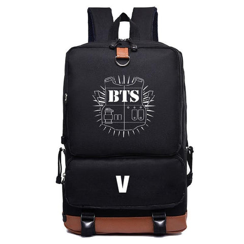 KPOP BTS Bangtan Boys Army   Canvas Letter Printing Backpack Student Bag Around The Album Fashion  Gift Satchel Bag Travell Bag For Teenager AT_89_10