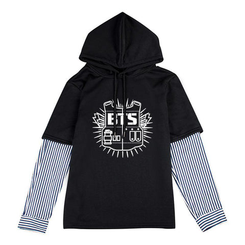 KPOP BTS Bangtan Boys Army   TWICE SEVENTEEN EXO Sweatshirts Hoodies Hooded Striped Women Men Moleton Tracksuit Cotton Hip Pop Harajuku Loose Top AT_89_10