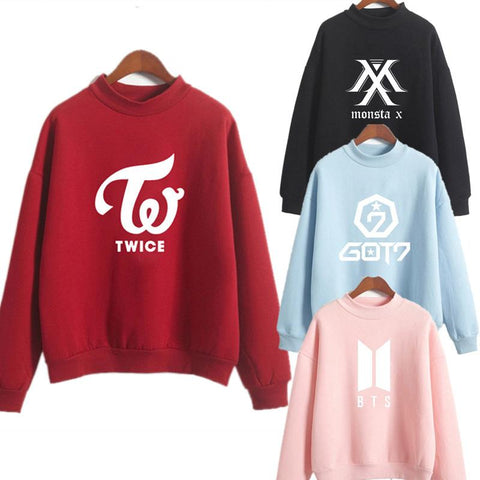 KPOP BTS Bangtan Boys Army Twice wanna New arrival 2019 Spring cartoon printed letters sweatshirt long sleeve o-neck Hoodies Stitching color  Tops AT_89_10