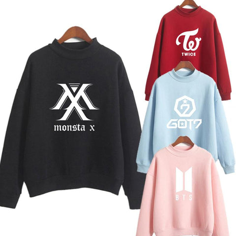KPOP BTS Bangtan Boys Army Women Long Sleeves Oversized Letter Print Hoodies Loose Sweatshirt And Pullover Plus Size Hoody   Clothes exo blackpink AT_89_10