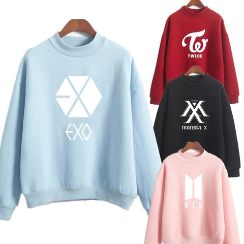 KPOP BTS Bangtan Boys Army New Fashion   Hoodie Sweatshirts Pullover Tops K Pop Women Top Striped Hooded Long Sleeve Hooded Hoody got7 monster x AT_89_10