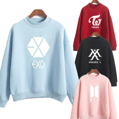 KPOP BTS Bangtan Boys Army  Hoodie  Love Yourself Round Neck Sweatshirt Women Hoodies Autumn Korean female streetwear k pop Clothes exo blackpink AT_89_10