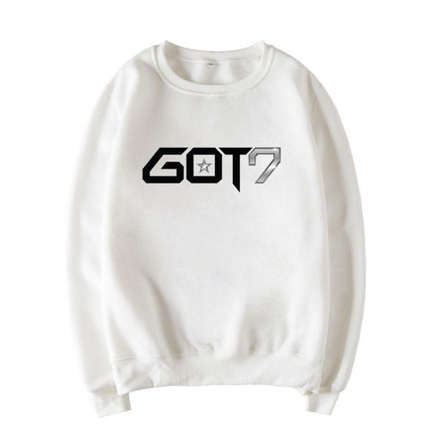 KPOP BTS Bangtan Boys Army 2018 Autumn Winter   Harajuku New  GOT7 JACKSON wang White Sweatshirt Women Got7 Top Clothes O-neck Loose Keep Warm AT_89_10