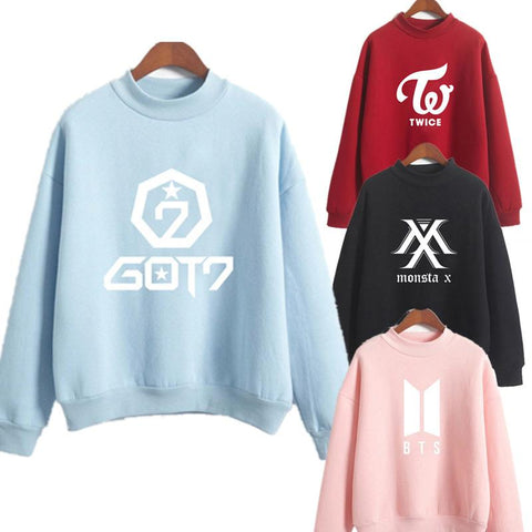 KPOP BTS Bangtan Boys Army Twice one New 2019  Hoodies For Women Gradient Logo Printed  Style Autumn Winter Fleece Thick Sweatshirt Turtle Neck AT_89_10