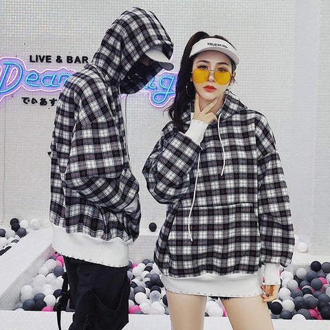 KPOP BTS Bangtan Boys Army Privathinker Women  Plaid Hoodies Sweatshirt 2018 Women Harajuku Patchwork Hooded Hoodie Couple Autumn Korean Windbreaker AT_89_10