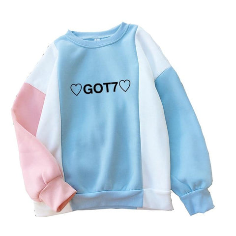 KPOP BTS Bangtan Boys Army Fashion Harajuku   GOT7 Hearts Cute Hoodies K Pop Clothes Kawaii Pink Blue Patchwork Sweatshirts Women Pullovers Tops AT_89_10