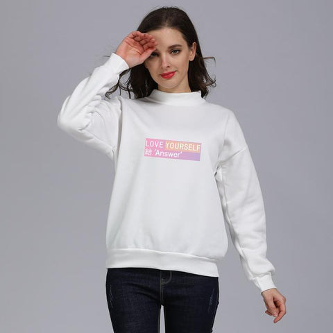 KPOP BTS Bangtan Boys Army   Hoodies Women Turtleneck Hoodies Sweatshirts Moletom Korean Style Hip-Hop Love Yourself Answer  Boys Clothes AT_89_10