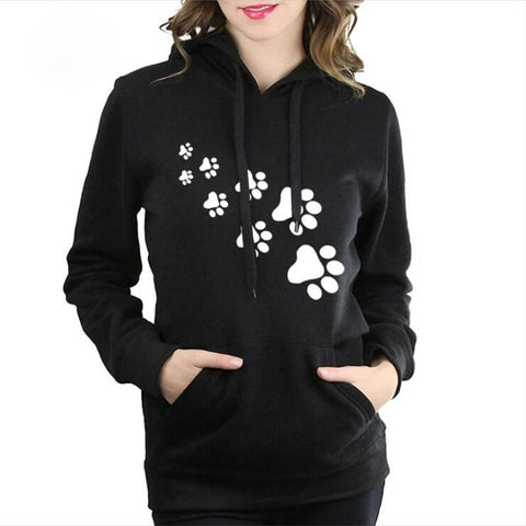KPOP BTS Bangtan Boys Army Casual Fleece Hoodie Women Harajuku Cat Paws Print Kawaii Hoodie Sweatshirt Autumn Winter Womens Black Pink Hoodies Pullover  AT_89_10