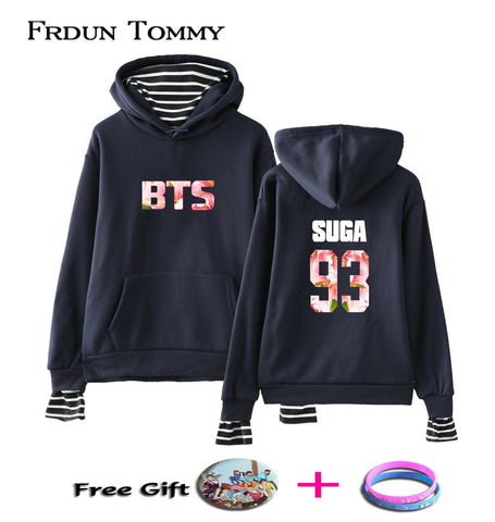 KPOP BTS Bangtan Boys Army Frdum Tommy  93 SUGA Fake Two Pieces Hoodies Casual  Boys Menber Harajuku Sweatshirt Hip Hop Warm College Style Cloth AT_89_10