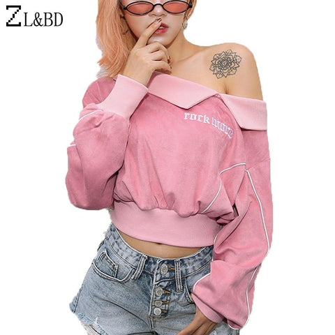 KPOP BTS Bangtan Boys Army ZL&BD sudadera  Girls Velvet Pink Short Hoodie 2018 Autumn Women Long Sleeve One Shoulder Letter Embroidery Sweatshirt ZA1077 AT_89_10