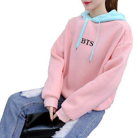 KPOP BTS Bangtan Boys Army  Women Hoodies   Harajuku sudadera mujer Pink Sweet Girls' Winter Outwear Loose Sweatshirts Korean Punk Moleton AT_89_10
