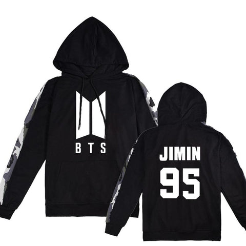 KPOP BTS Bangtan Boys Army   Sweatshirts Hoodies Hooded Women Men Moleton Tracksuit Cotton Hip Pop Harajuku Loose Camouflage Sleeve Top Coat AT_89_10