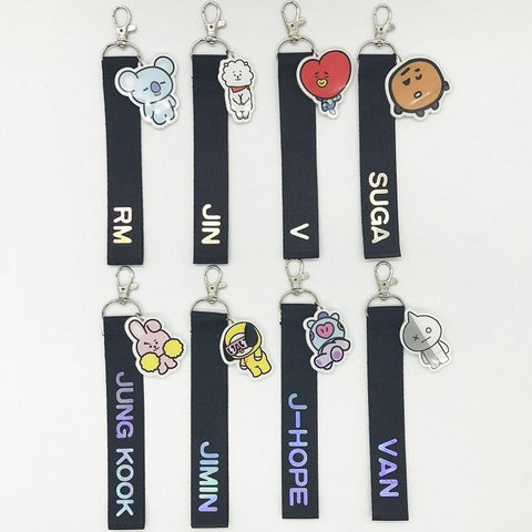 KPOP BTS Bangtan Boys Army 1PC Fashion   BT21 Laser Lanyard Keychian Phone Strap Rope Backpack Decoration Ribbon Pendant Bag Accessories Streamers AT_89_10