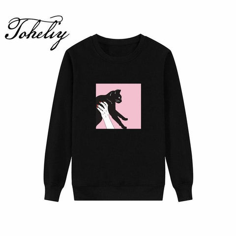KPOP BTS Bangtan Boys Army  new Style Women Hoodies Sweatshirts Cartoon cat design printing loose outwear round neck Hip-Hop Boy girl Clothes AT_89_10