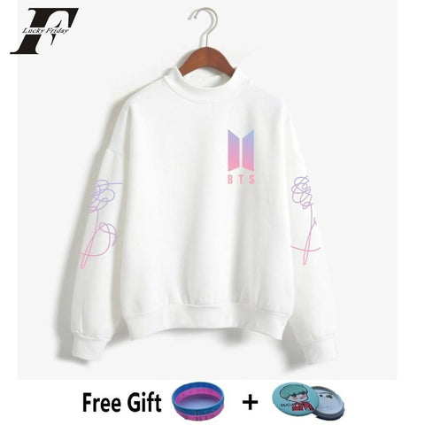 KPOP BTS Bangtan Boys Army   DNA Turtleneck oversized Tops Sweatshirts Women/men  Boys  Album Love Yourself Capless Hoodies moletom AT_89_10