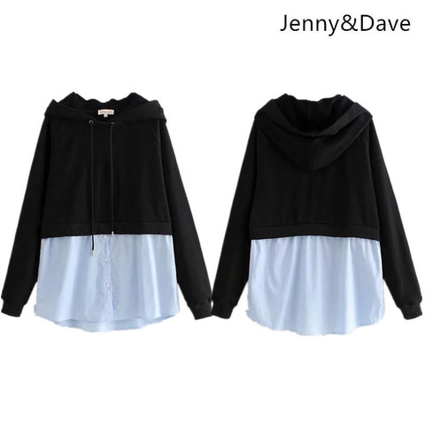 KPOP BTS Bangtan Boys Army Jenny&Dave hoodies women  england style panelled patchwork hooded regular pullovers oversize sweatshirt plus size tops 0906 AT_89_10
