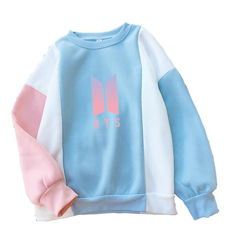 KPOP BTS Bangtan Boys Army  Hoodie Women Raglan Spell Color O-neck Sweatshirt 2018 Autumn New Harajuku Fleece Thick  Boys  Tracksuit Pullover AT_89_10