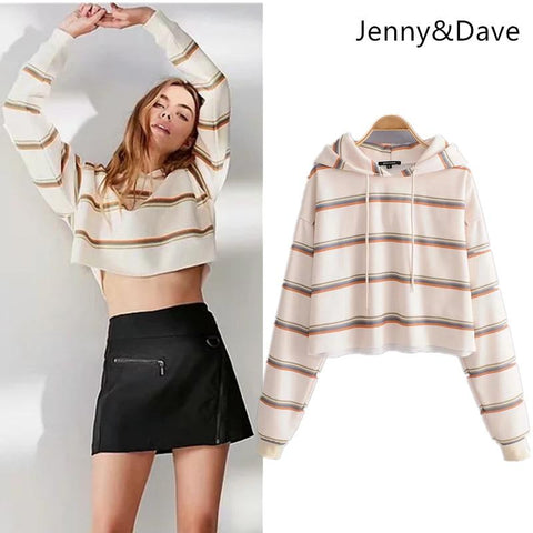 KPOP BTS Bangtan Boys Army Jenny&Dave hoodies women  england style panelled striped short regular pullovers oversize sweatshirt plus size tops 0905 AT_89_10