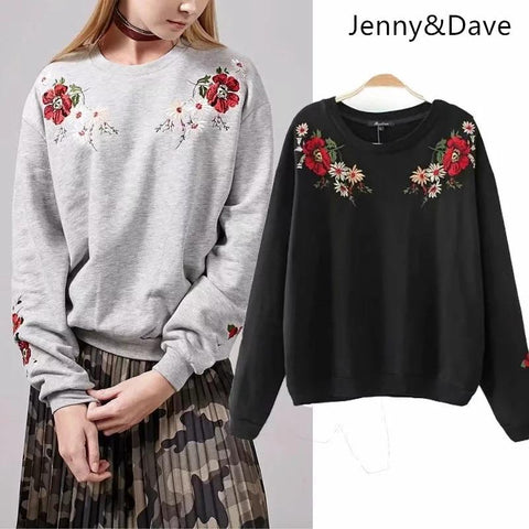 KPOP BTS Bangtan Boys Army Jenny&Dave hoodies women  england style o-neck floral embroidery  regular pullovers oversize sweatshirt plus size tops 0905 AT_89_10