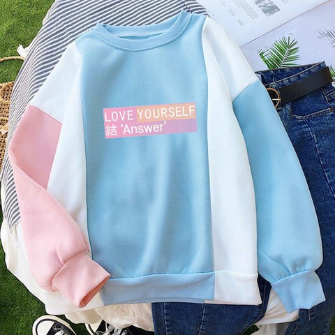 KPOP BTS Bangtan Boys Army 2018   Love Yourself Sweatshirt  Boys Hoodies Women Clothing Oversized Hoodies for  Fans AT_89_10