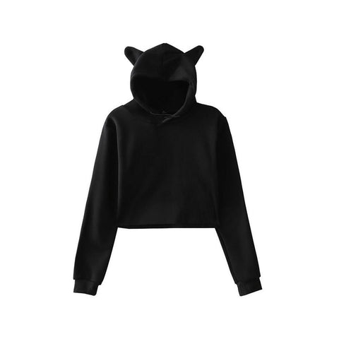 KPOP BTS Bangtan Boys Army Fashionable Solid Color Cat Ear Hoodies Pullover Sweatshirts Women Long Sleeve Casual Hooded  Cropped Tops Sweatshirts AT_89_10